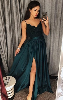 Dark-Green Spaghetti-Straps Prom Dress UK | Lace Evening Gowns With Slit_1