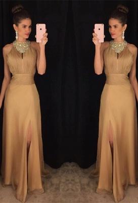 Sexy Beadings Front Split Prom Dress UK A-line Halter Sleeveless AP0_1