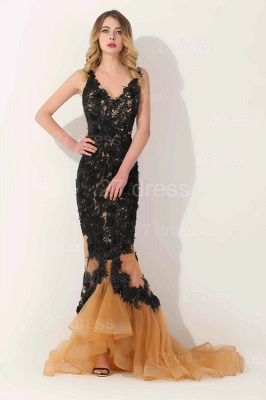 Gorgeous Elegant V-Neck Appliques Mermaid Evening Dress UK On Sale_3