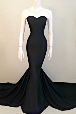 Elegant Mermaid Black Sweetheart Evening Dress UK Sleeveless Sweep Train_1