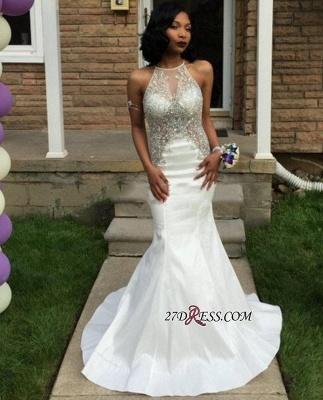 Crystal Sleeveless Mermaid Elegant White Halter Prom Dress UK BK0_3