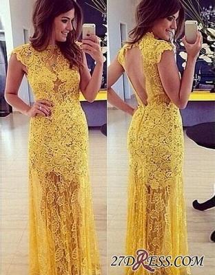 Modern Long Yellow Sleeveless High-Neck Lace A-line Prom Dress UK BA9014_2