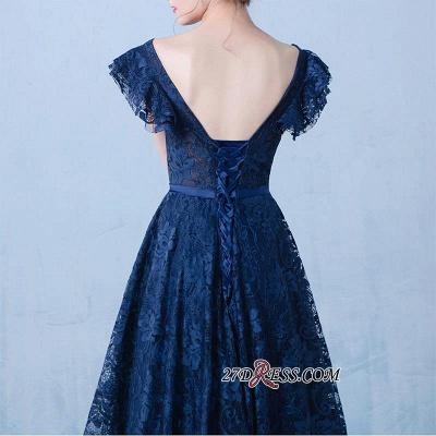 Sexy A-line V-Neck Dark-Navy Lace Beading Prom Dress UKes UK_1