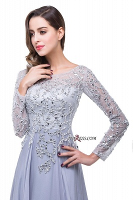 Appliques Long-Sleeves Newest Beadings A-Line Prom Dress UK_3
