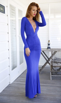 Modern V-neck Long Sleeve Mermaid Prom Dress UK Open Back_3