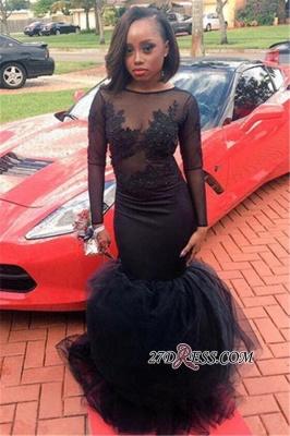 Appliques Tulle Black Illusion Mermaid Long-Sleeve Sheath Elegant Lace Prom Dress UK JJ0127 BK0_1