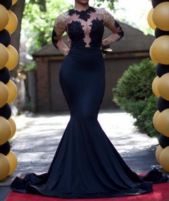 Elegant Black Long Sleeve Evening Dress UK Lace Mermaid BA4868_3