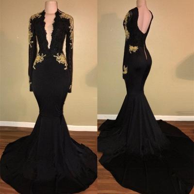 Elegant black prom Dress UK,mermaid long sleeve evening Dress UK BA7942_3