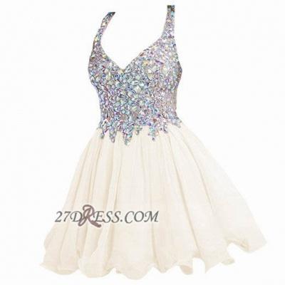 Elegant V-neck Sleeveless Chiffon Short Homecoming Dress UK With Beadings Crystals_9