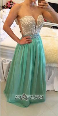 Elegant Illusion Sleeveless Long Evening Dress UK Pearls Appliques Chiffon Prom Gown BT0_1