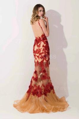 Gorgeous Elegant V-Neck Appliques Mermaid Evening Dress UK On Sale_2
