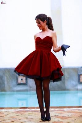 Lovely Sweetheart Burgundy Homecoming Dress UKes UK Short Prom Gowns_1