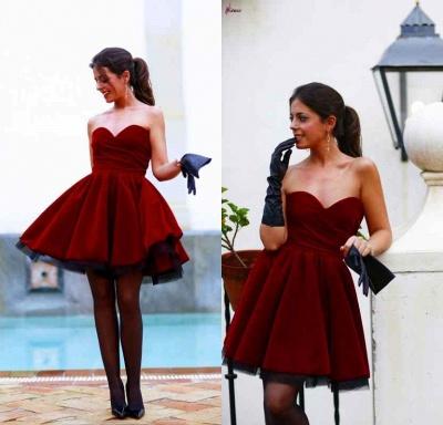 Lovely Sweetheart Burgundy Homecoming Dress UKes UK Short Prom Gowns_3