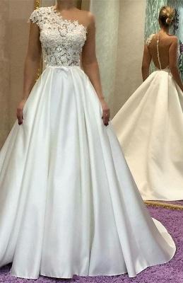 Gorgeous One Shoulder Wedding Dress   Lace Princess Bridal Gowns_1