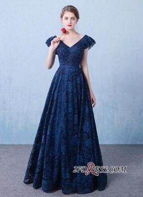 Sexy A-line V-Neck Dark-Navy Lace Beading Prom Dress UKes UK_5