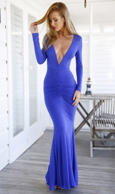 Modern V-neck Long Sleeve Mermaid Prom Dress UK Open Back_2