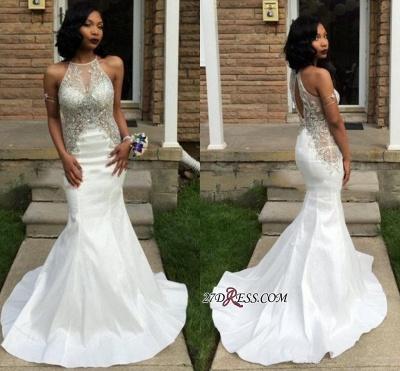 Crystal Sleeveless Mermaid Elegant White Halter Prom Dress UK BK0_1