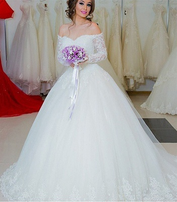 Chic Off-the-shoulder Lace Wedding Dress Tulle Ball Gown Long Sleeve ba5341_2