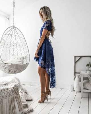 Sexy Short Sleeve Lace Homecoming Dress UK Hi-Lo Party Gowns_4