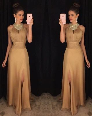 Sexy Beadings Front Split Prom Dress UK A-line Halter Sleeveless AP0_3