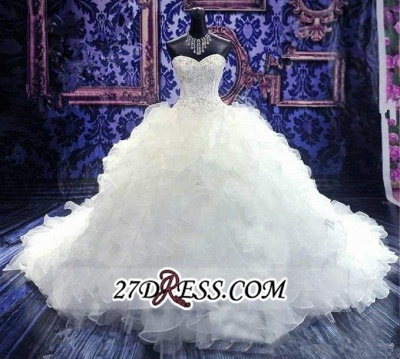 Ball-Gown White Long-Train Beads Lace-up Sweetheart Ruffles Gorgeous Wedding Dress_3