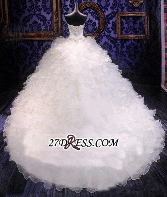 Ball-Gown White Long-Train Beads Lace-up Sweetheart Ruffles Gorgeous Wedding Dress_2