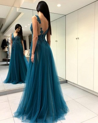 Luxury Scoop Long Evening Dress UK   2019 Forml Dress UK With Slit On Sale_4