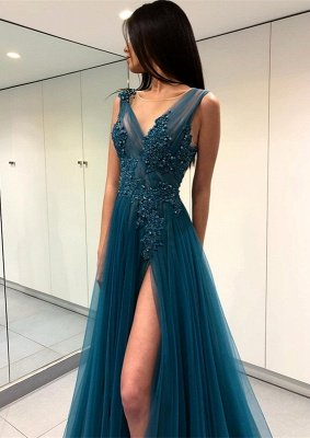 Luxury Scoop Long Evening Dress UK   2019 Forml Dress UK With Slit On Sale_3