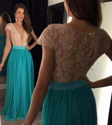 Newest Lace Sequined V-neck Evening Dress UK Short Sleeve A-line_3
