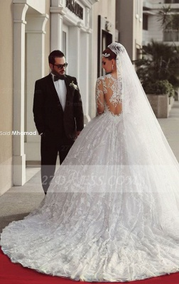 Train Long Sleeve Lace Wedding Dresses UK with Sweep New Arrival Ball Gown Bridal Gown_2