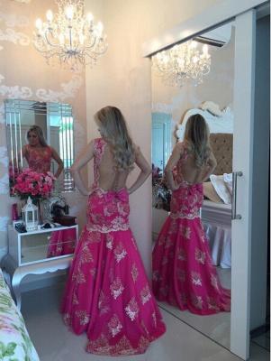 Chic Lace Appliques Mermaid Sequins Prom Dress UK Fuchsia Sweep Train_4