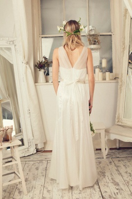Delicate Tulle A-line Wedding Dress Straps Beads Floor-length_3