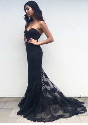 Elegant Black Sweetheart Prom Dress UK Lace Mermaid BA3920_1