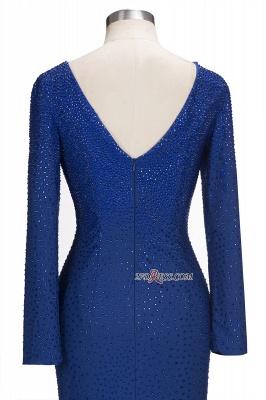 Knee-Length Beading Sheath Long-Sleeves Royal-Blue Formal Dress UKes UK_2