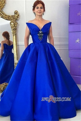 Sexy Crystal Floor-Length Royal-Blue Ball-Gown Prom Dress UK_3