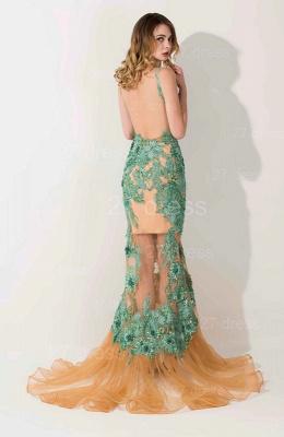 Elegant Appliques V-neck Mermaid Prom Dress UK Sweep Train_3