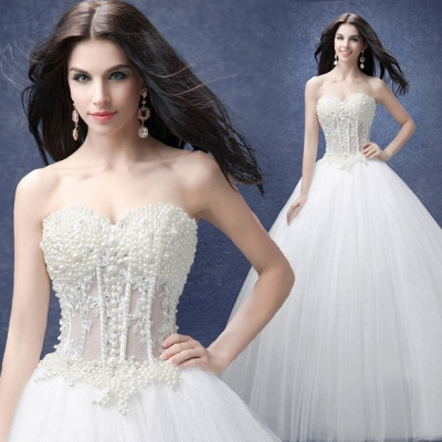 Elegant Sweetheart Pearls Wedding Dresses UK Ball Gown Tulle Bridal Gown_3