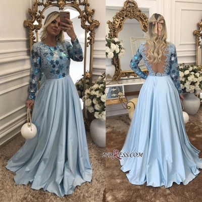 Lace Long-Sleeves Beaded Blue A-Line Scoop Evening Dress UK_1