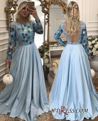 Lace Long-Sleeves Beaded Blue A-Line Scoop Evening Dress UK_2