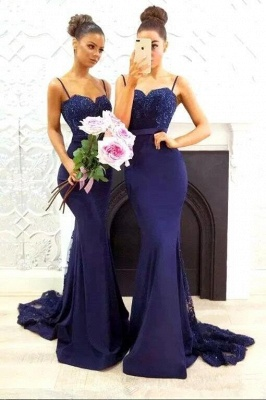 Luxury Spaghetti Strap Navy Lace Mermaid Bridesmaid Dress UK on Sale_1