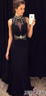 Crystal Sleeveless Sheath Black High-Neck Natural Long Prom Dress UKes UK AP0_2