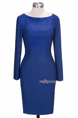 Knee-Length Beading Sheath Long-Sleeves Royal-Blue Formal Dress UKes UK_6