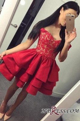 Lace Short Ruffles Off-the-shoulder Modest Red Homecoming Dress UK_2
