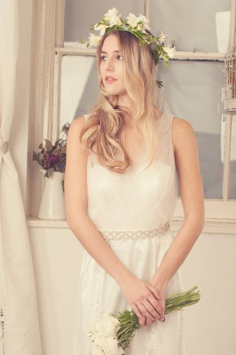 Delicate Tulle A-line Wedding Dress Straps Beads Floor-length_4