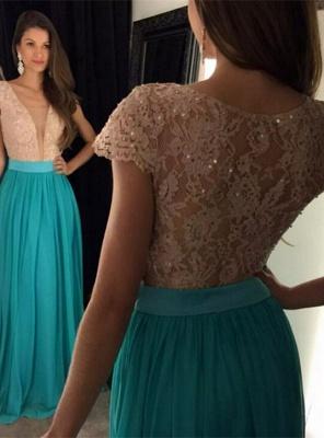 Newest Lace Sequined V-neck Evening Dress UK Short Sleeve A-line_1
