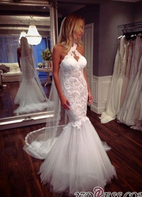 Sexy Mermaid Tulle Sleeveless Lace Halter Elegant Wedding Dress_2