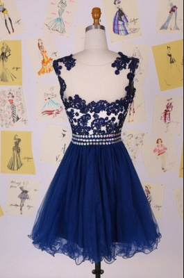 Sexy Illusion Cap Sleeve Short Cocktail Dress UK With Appliques Beadings_2