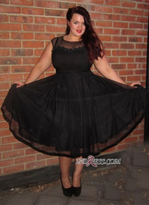 Cap-Sleeve A-line Plus-Size Black Jewel Tea-Length Newest Prom Dress UK BA6869_3