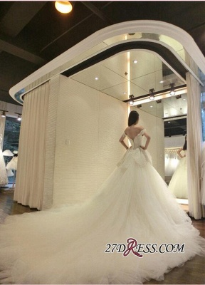 Tulle Beads Newest Lace-Appliques Off-the-shoulder Long-Train Wedding Dress_4