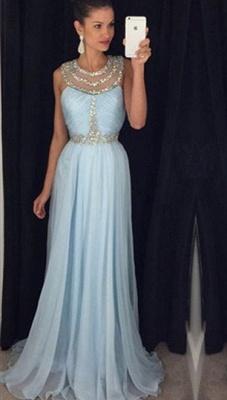 Modern Beadings Jewel A-line Prom Dress UK Sweep Train AP0_1